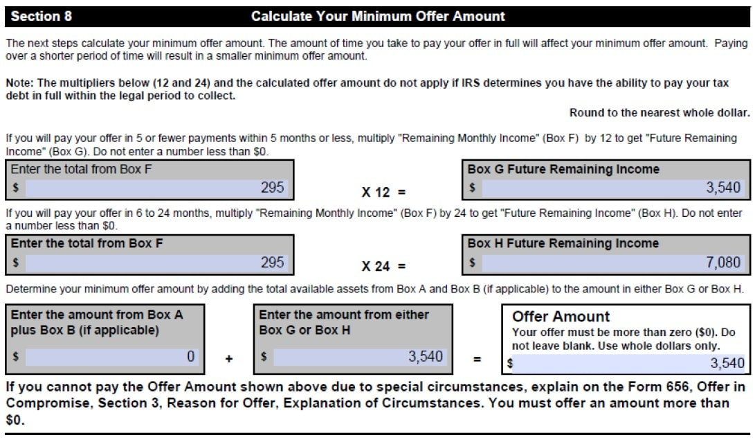 form-433-a-offer-in-compromise-section-8-calculating-minimum-offer