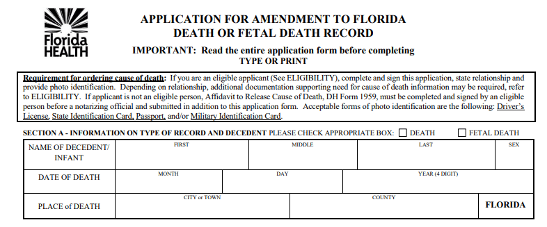 Application for Amendment to Florida Death or Fetal Death Record