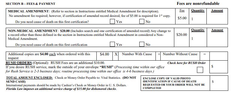 Florida Death Certificate Change or Amendment Filing Fee