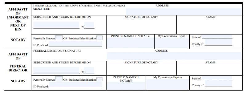 Amending or Changing Non-Medical Information on a Florida Death Certificate