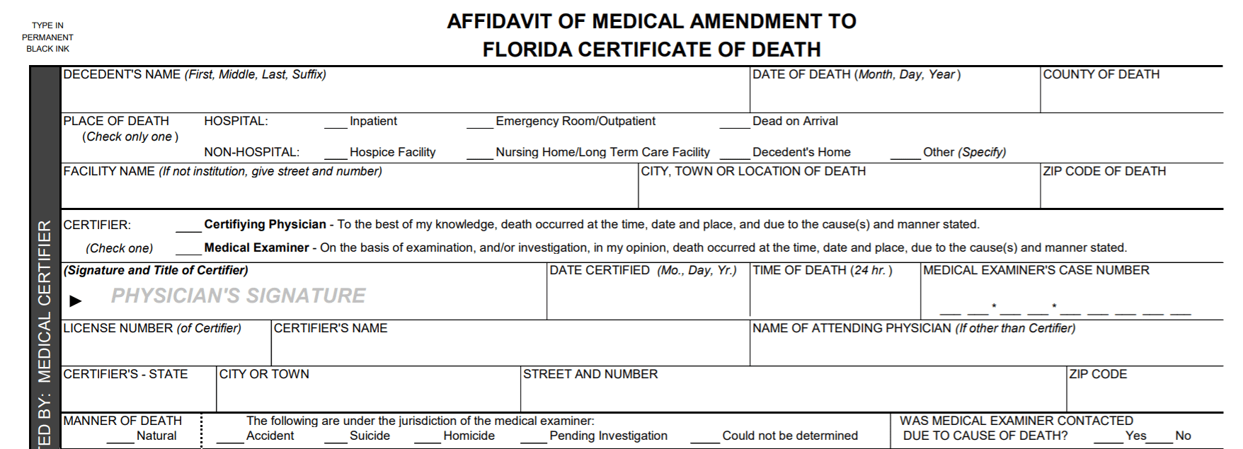 Amending or Changing Medical Information on a Florida Death Certificate